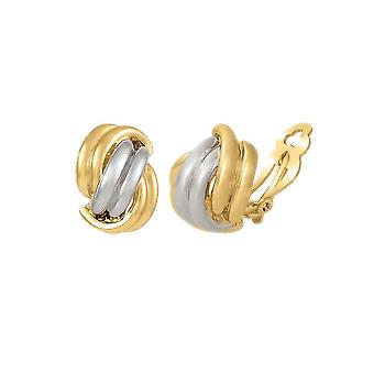 Eternal Collection Twinned Classic High Gloss Two Tone Gold And Silver Clip On Earrings