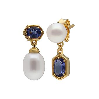 Modern Pearl & Tanzanite Mismatched Drop Earrings in Gold Plated Sterling Silver 270E030208925