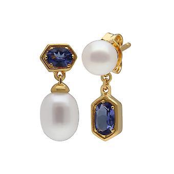 Moderne Perle & Tanzanit nicht übereinstimmende Tropfen Ohrringe in vergoldeten Sterling Silber 270E030208925