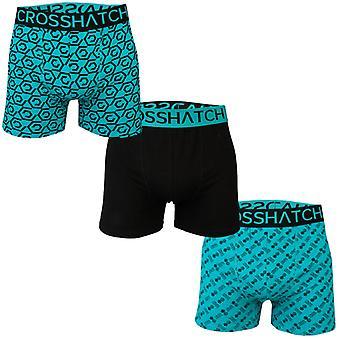 Men's Crosshatch 3 Pack Gleason Boxer Shorts in Black