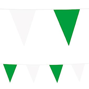 10 Plastic Bunting: Green & White