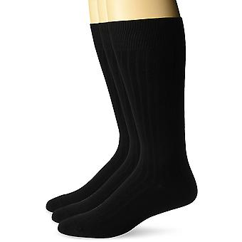 BUTTONED DOWN Men's 3-Pack Premium Ribbed Soft Dress Socks, Black, Shoe Size:...