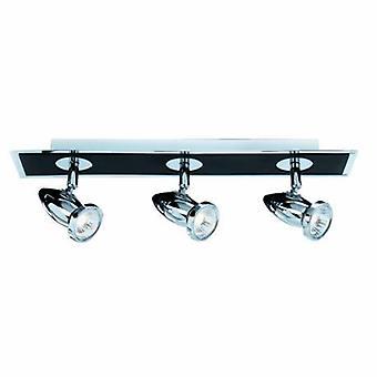 3 Light Ceiling Spotlight Bar Chrome, Matt Black, Gu10