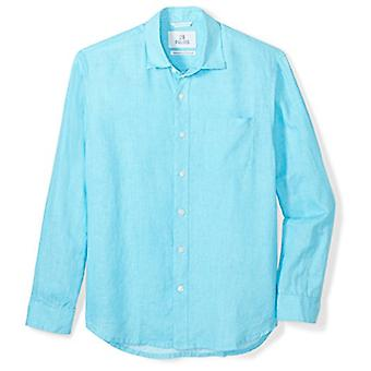 28 Palms Men's Relaxed-Fit 100% linnen shirt, Blauwe Topaas, X-Large