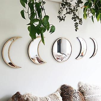 Nordic Style Wooden Decorative Moon Phase Acrylic Mirror - Home Decor Mirror