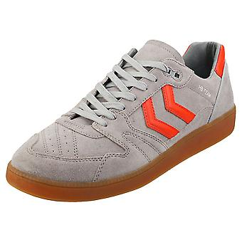 hummel Hb Team Mens Casual Trainers in Grey Red