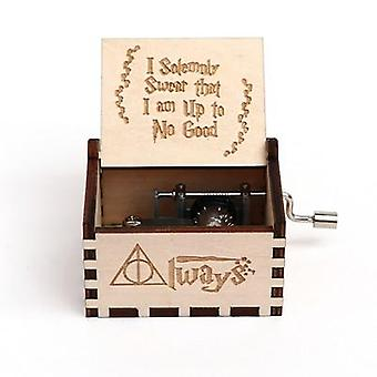 I Solemnly Swear That I Am Up To No Good Wooden Hand Crank 18 Tones Music Box -