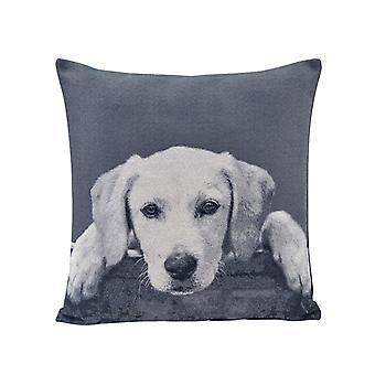 AK370C, Gray Labrador Puppy Cotton Jacquard Printed Decorative Toss Throw Accent Pillow by Danya B.
