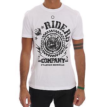 Frankie Morello White Cotton Riders Crewneck T-Shirt TSH1264-5