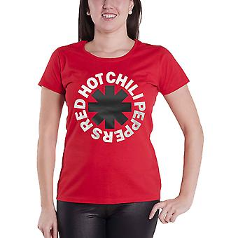 Red Hot Chili Peppers T Shirt Classic Asterisk Official Womens Skinny Fit Red