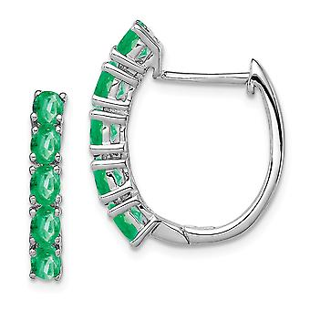 925 Sterling Silver Polished Emerald Hinged Hoop Earrings Measures 20x18mm Wide 4mm Thick Jewelry Gifts for Women