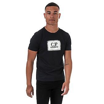 C.p. company men's navy box logo t-shirt