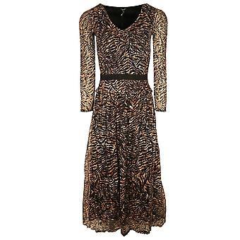 Leo & Ugo Black & Orange Tiger Print Long Sleeve No Iron Elasticated Dress