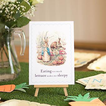 Peter Rabbit Card and Easel 'Eating too much lettuce' Party Decoration Sign