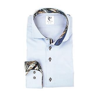 R2 Long Sleeved Shirt Light Blue Check