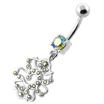 Rainbow Gemstone Trendy Colorful Fancy Bug Dangling Design Sterling Silver Belly Bars Piercing