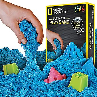 National geographic jm02043 blue play 900 g of sand with castle moulds and tray, grams 900 grams