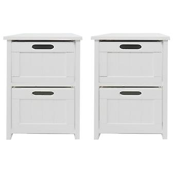 Set Of 2 White  Narrow 2 Chest of Drawer Bedside Table Cabinet (28x28x50cm)