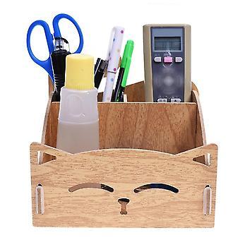 Puinen diy kokoaa söpö kissa kynänpidin, desk järjestäjä kotiin, toimisto