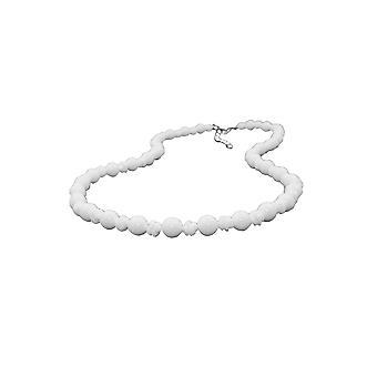 Halskette Runde Perlen und Knoten Perlen weiß