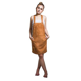 Faux suede lightweight dungaree dress - brown
