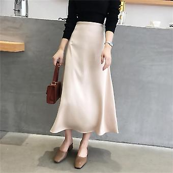 Women Elegant Skirt Ladies Glossy Satin Plain Shiny Fashion Party Office Solid
