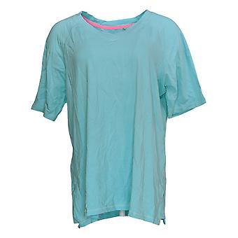 Isaac Mizrahi Live! Women's Top SOHO V-Neck Elbow-Sleeve Knit Blue A365198