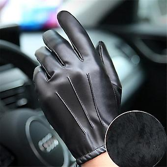 Long Keeper Fashion Black Pu Leather Gloves Male Thin Style Driving Leather Men