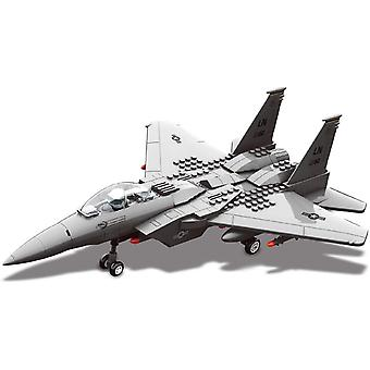 Top Race TR-F15 DIY Set Military Army Fighter F15 Jet Airplane for Kids Adults Boys Girls, Grey