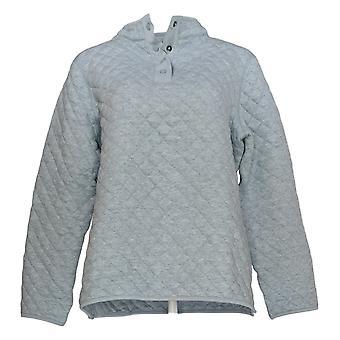 Denim & Co. Kvinder's Sweater Quiltet Jersey Henley Langærmet Blå A388249