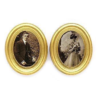 Dolls House 2 viktoriaaninen muotokuva kuvia kultakehyksiä miniatyyri lisävaruste
