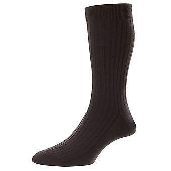 Pantherella Rutherford Merino Royale Calcetines de Lana - Marrón Roble Oscuro