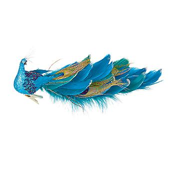 TRIXES Teal Peacock Xmas Tree Decoration 25cm Ornament