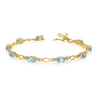"""10K amarelo ouro oval Aquamarine pedras e diamantes pulseira de tênis, 7 """""""