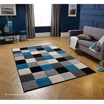 Portland firkanter grå blå tæppe