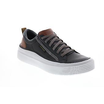 Skechers Viewport Brolen Mens Black Leather Lifestyle Sneakers Chaussures
