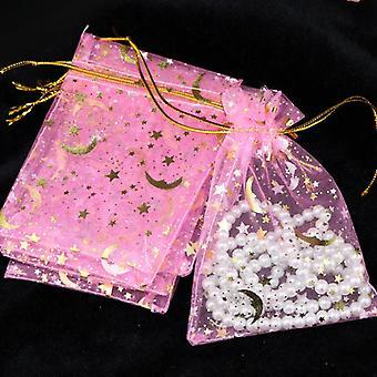 100pcs/lot Moon Star Small Christmas Drawstring Charm Jewelry Packaging Bags &