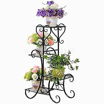 Wrought Iron Multilayer Flower Solid Wood Flowerpot Sitting Room Balcony Indoor