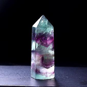 Natural Fluorite Hexagonal Column Multicolor Crystal Dot Mineral Home