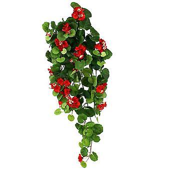 Kunstig hængende Geranium 90 cm rød