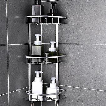 Space Aluminum Bathroom Shelf Punching Shower Caddy Kitchen Storage Basket