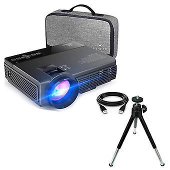 Vankyo Leisure C3MQ LED-projektori jalustalla - Beamer Home Media Player Theater Cinema Black
