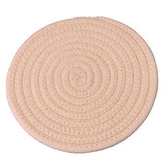 3 piezas tejida algodón hilo aislamiento hot pad crema resistente al calor 18cm