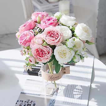 Rosas blancas flores artificiales peonías boda jarrones decorativos para casa decoración novia ramo espuma artesanía regalos plantas falsas