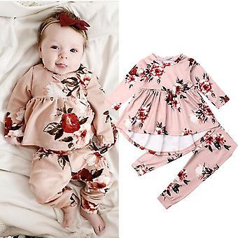 Newborn Baby Clothes, Print Ruffle Tops Long Pants