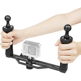 HanFei Aluminium Dual Handheld Stabilisator Kamera Unterwasser Handgriff fr GoPro Hero 8/7/6/5/4/3+/3