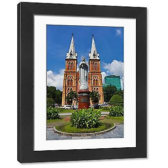 Statue of the Virgin Mary at the Notre-Dame Cathedral Basilica of Saigon, Ho. Large Framed Photo..