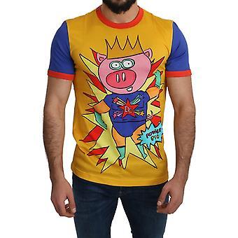 Dolce & Gabbana Bomull Top Super Power Pig Mens T-shirt - TSH4957