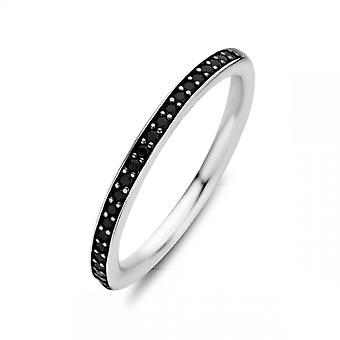 Ring Ti Sento 1923ZB - zilver zwarte zircons stenen set rail Vrouw