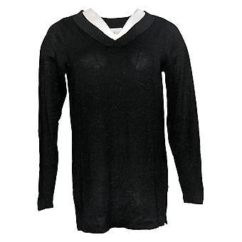 Belle By Kim Gravel mujeres's suéter Lurex V cuello túnica negra A388515